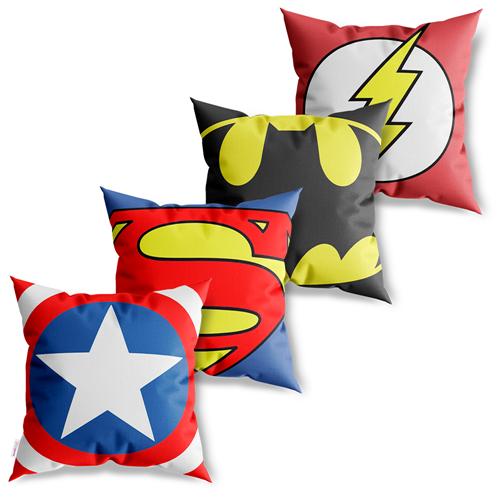 Kit 4 Capas De Almofadas Decorativas Heróis Marvel Vs Dc