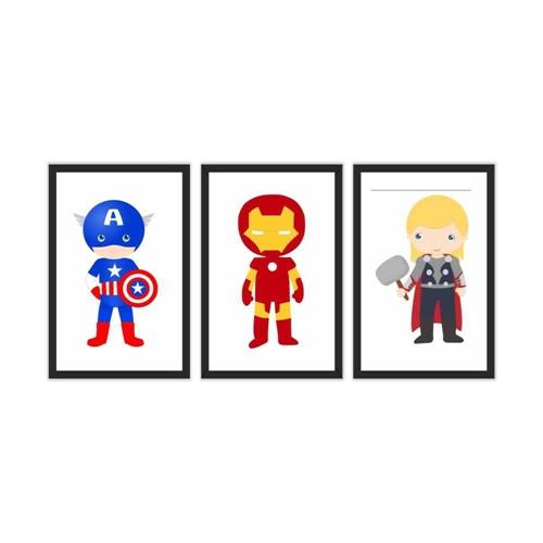 Quadro Decorativo Marvel Kids 3P 115X57