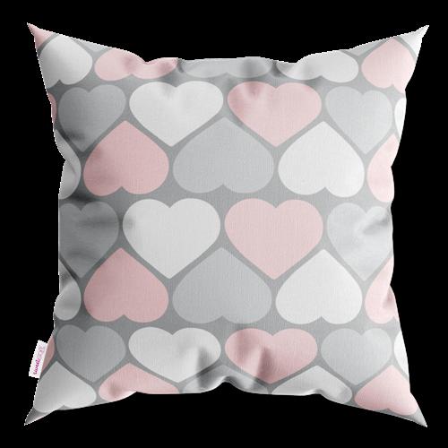 Capa De Almofada Decorativa Corações Rosa Branco E Cinza